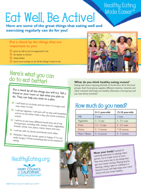 Learn healthy strategies for eating and physical activity for lifelong health. Available in English and Spanish.