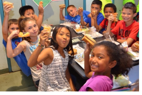 Healthy Children Enjoying Meal Out-of-School Time